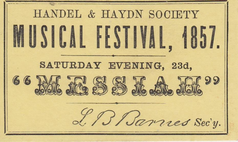 Top: An archival document from an 1857 Handel and Haydn Society music festival.