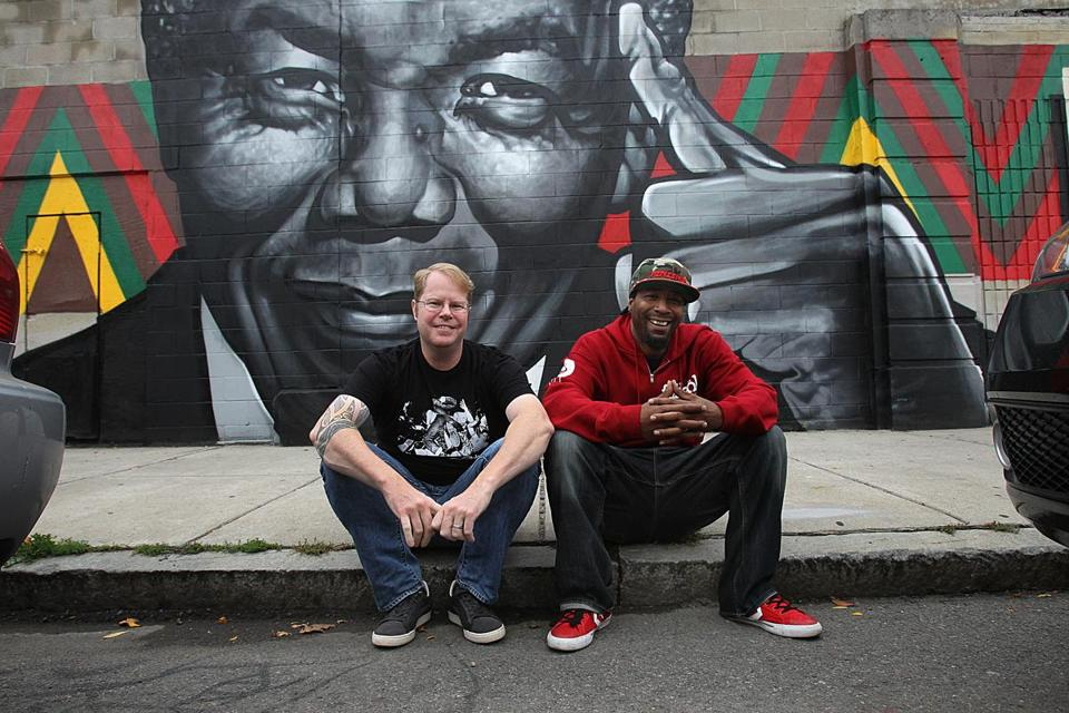 Music historian Brian Coleman (left) and rapper Edo G. in Roxbury. Coleman's new book details Edo G.'s rise to fame.