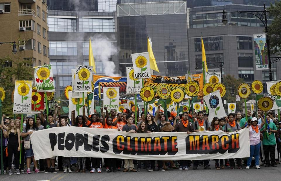 Protesters carried signs and banners during the recent People's Climate March in New York.