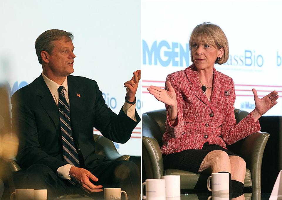 "Republican Charlie Baker and Democrat Martha Coakley, at the 2014 MassBio Gubernatorial Forum on Monday. Baker promised ""a transparent marketplace"" for health care; Coakley cited her ""groundbreaking"" work on health care costs."