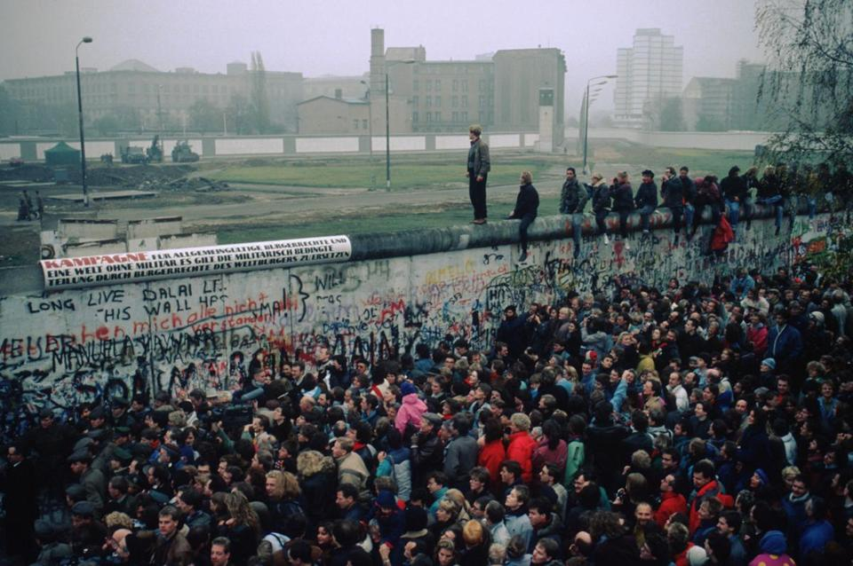 People massed in front of the Berlin Wall after the border opened on Nov. 9, 1989.