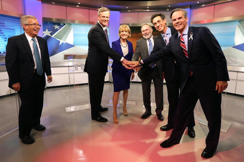 Political analyst and debate moderator Jon Keller with the candidates — from left, Republican Charlie Baker, Democrat Martha Coakley, and independent candidates Scott Lively, Evan Falchuk, and Jeff McCormick.