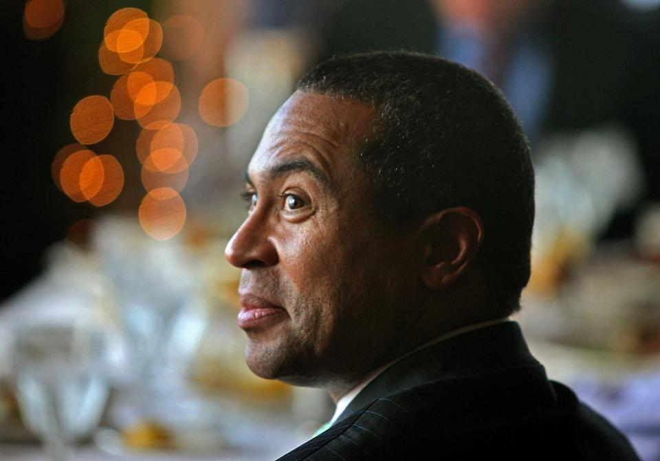 Then-governor-elect Deval Patrick listened while being introduced during a 2006 event.  At the end of his second term, a Globe poll found Patrick getting decidedly mixed reviews for his handling of a range of key issues.