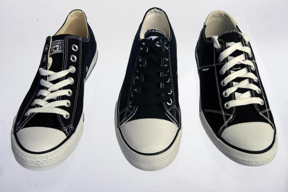 Sneakers made by Fila and Bobs look like the Converse All Star shoe (left).