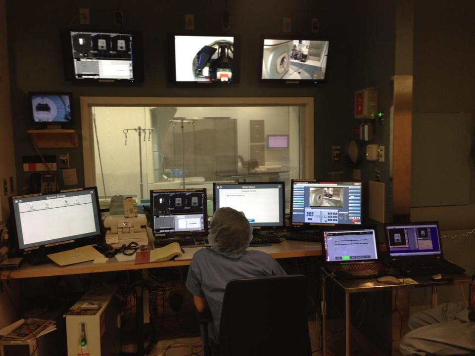 A worker monitored an console room at Brigham and Women's Hospital in Boston.