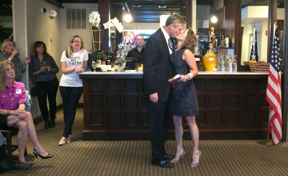 GOP gubernatorial hopeful Charlie Baker kissed his wife, Lauren, when he made an  appearance at an event she held in West Roxbury.