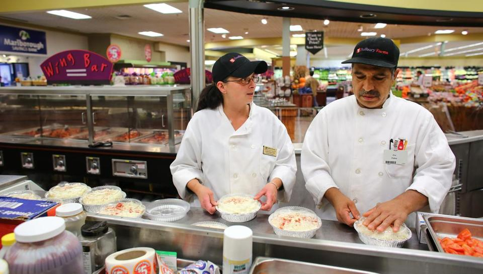 Roche Bros.  kitchen manager Jami Proctor made Shepard's Pie with kitchen associate Jose Palma in the Sudbury Farms store.
