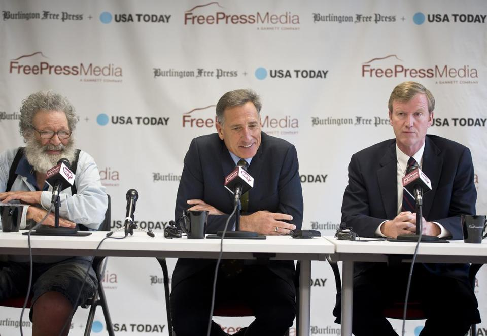 From left, Liberty Union party member Peter Diamondstone, Democrat  Peter Shumlin, and Republican Scott Milne participated in a debate.