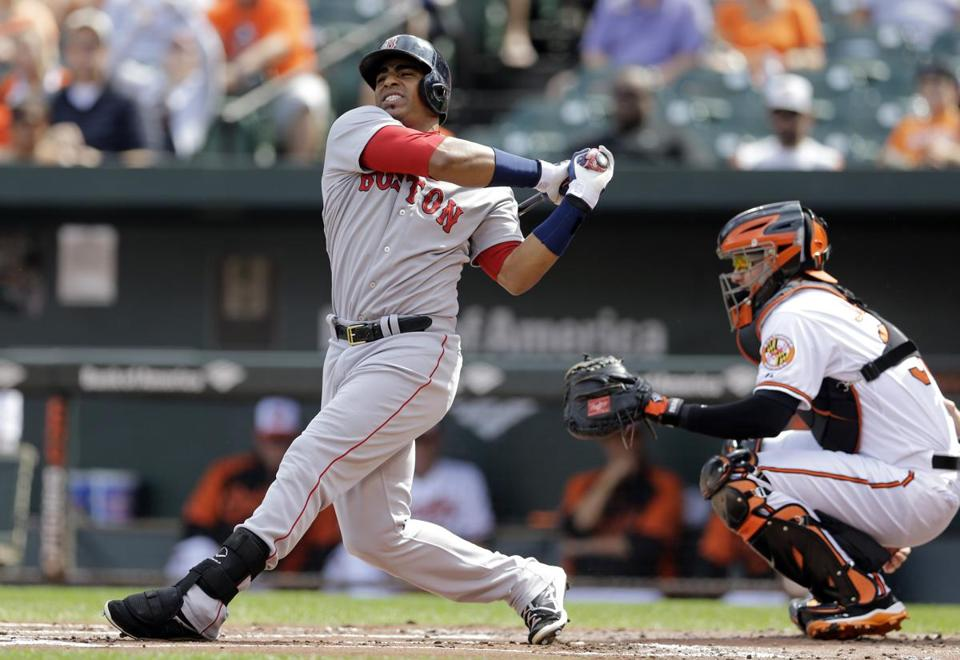 Boston Red Sox's Yoenis Cespedes reacts as he takes a swinging strike in a baseball game against the Baltimore Orioles, Sunday, Sept. 21, 2014, in Baltimore. (AP Photo/Patrick Semansky)