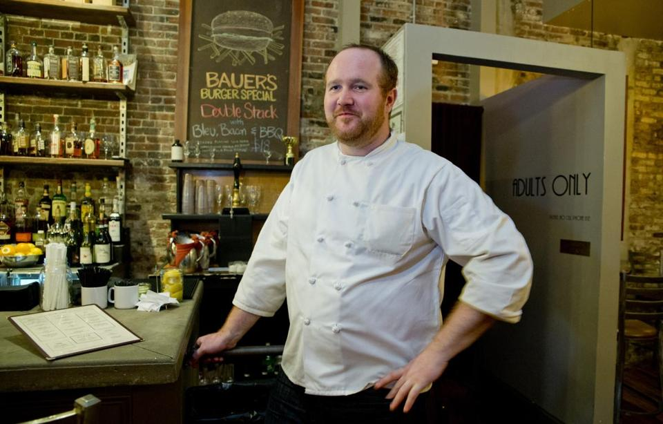Boston, MA 10/23/14 Chef Chris Bauers (cq) at JM Curley on Thursday October 23, 2014. (Matthew J. Lee/Globe staff) Topic: 29cheekypix3 Reporter: Kara Baskin