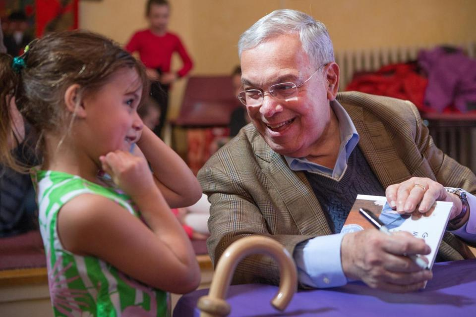 Menino spoke with Cosette Cummins, 6, in March at a book signing in Dorchester.