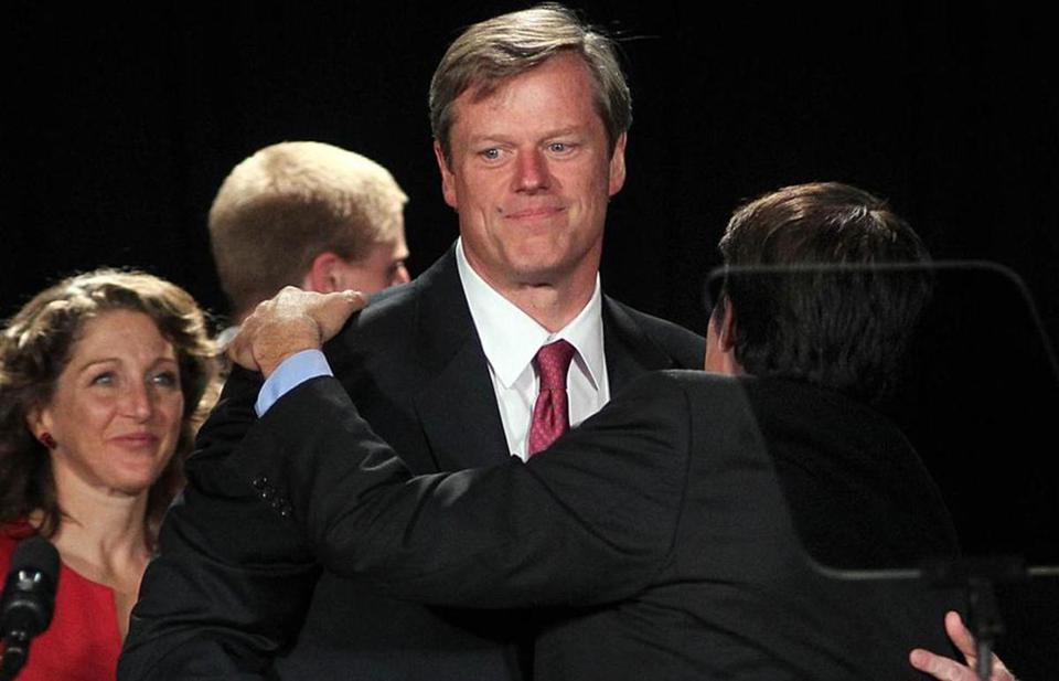 After the disappointing end to his gubernatorial bid in 2010, Charlie Baker hugged his running mate, Richard Tisei, at their election night party.