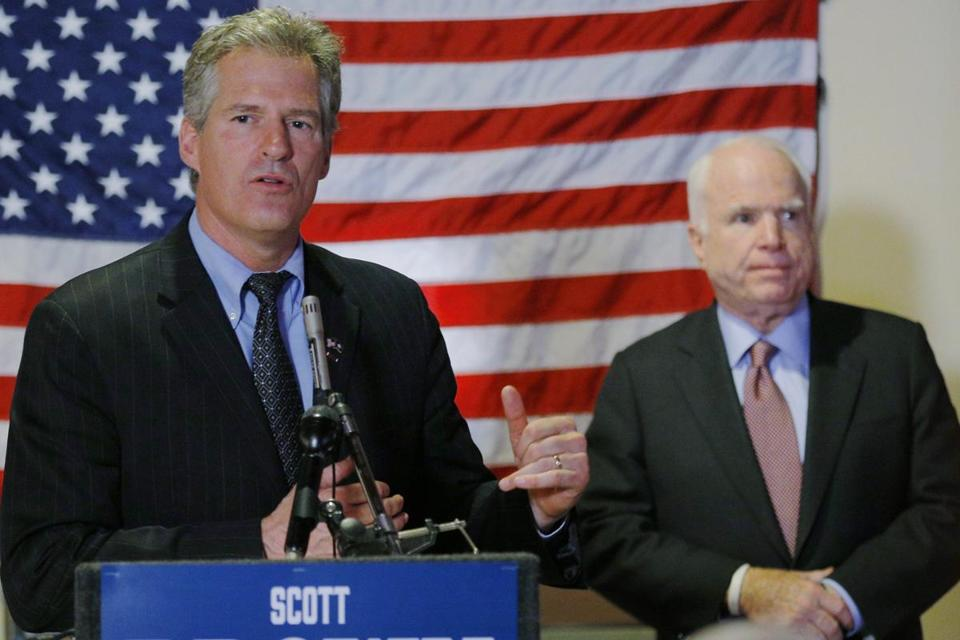Scott Brown (left) was joined by Senator John McCain at a campaign stop at the American Legion Post #3 in Nashua, New Hampshire.