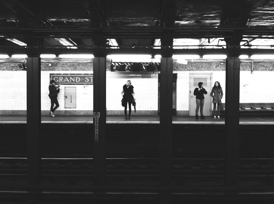 "Left: Greg Schmigel's ""Subway Triptych"" taken in New York. Right: An untitled work taken by Jules Aarons in the Bronx."
