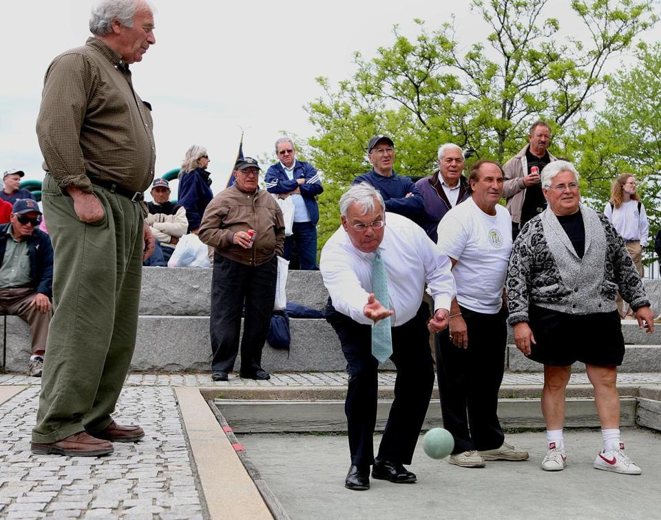 Menino was Boston's first Italian-American mayor, and reveled in his heritage, taking a turn during a 2009 bocce tournament for seniors at Langone Park in the North End.