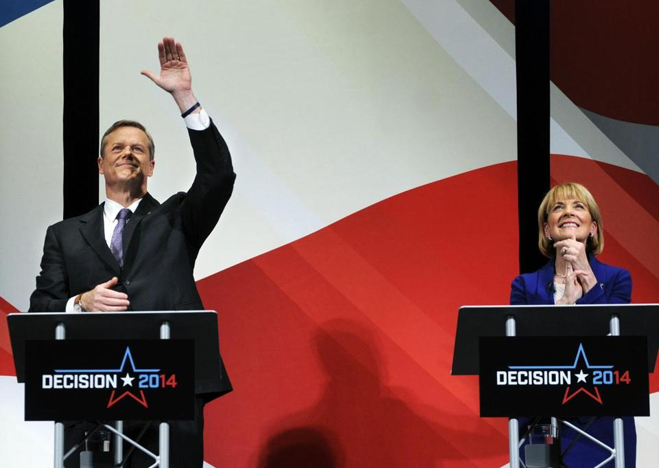 The two leading candidates for governor, Republican Charlie Baker (left), and Democrat Martha Coakley, right.