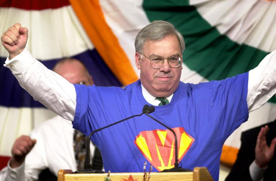Mayor Menino put on a modified Superman T-shirt during the St. Patrick's Day breakfast in South Boston.