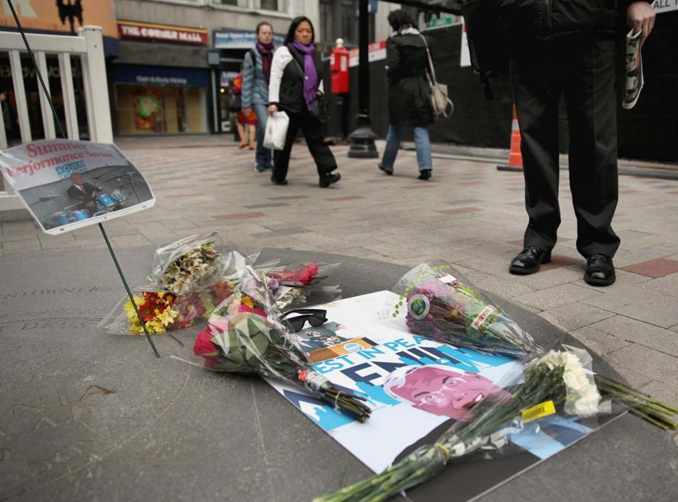 A makeshift memorial on Downtown Crossing.