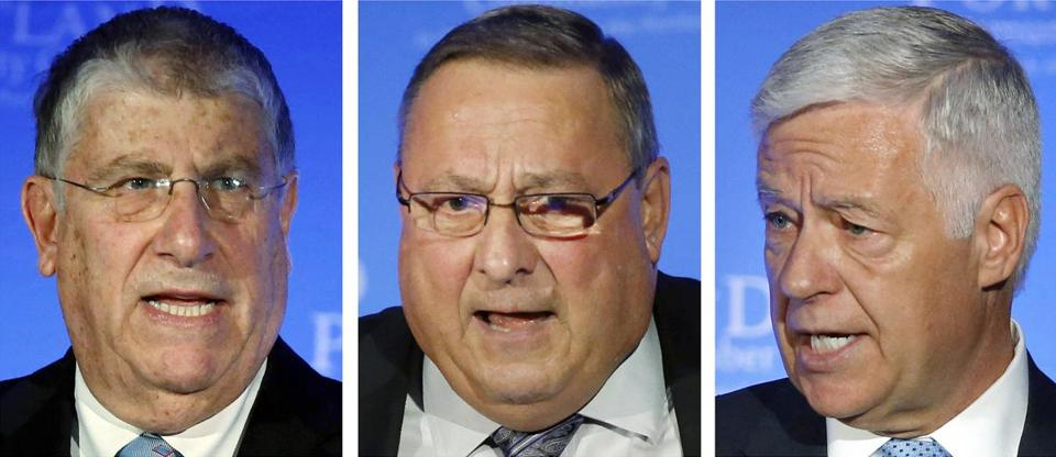 Gubernatorial candidates independent Eliot Cutler, left, Republican Gov. Paul LePage, center, and Democrat Mike Michaud participated in a debate in Portland.