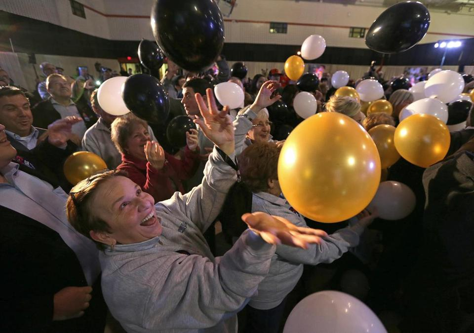 Mary Boever celebrated in Everett on news that repeal of casinos had failed.