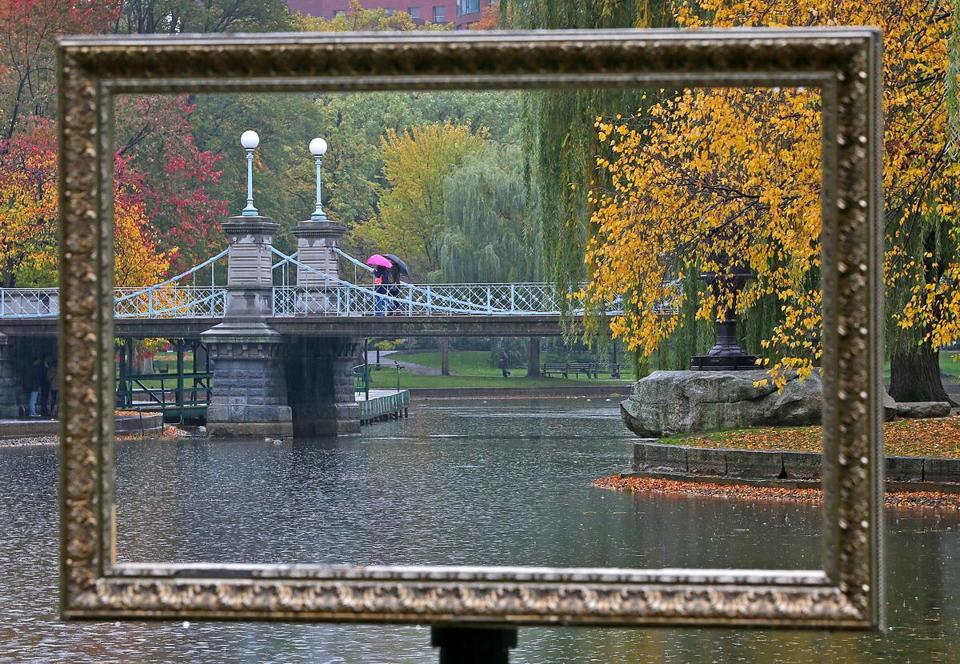 An idyllic scene in the center of the city at the Boston Public Garden was neatly defined on Thursday by one of three frames put up by Friends of the Public Garden.