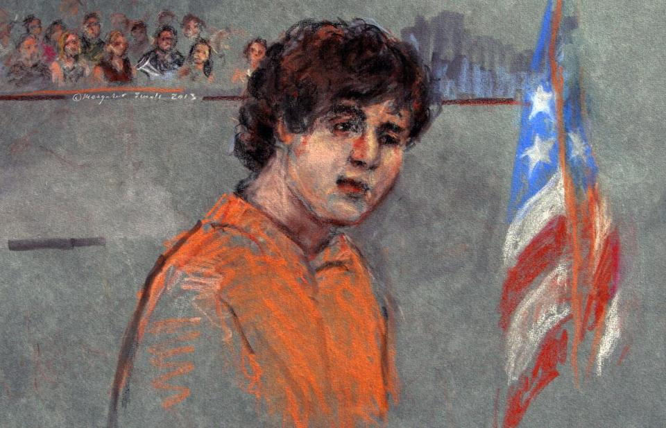 This sketch depicts Dzhokhar Tsarnaev appearing at his July 2013 arraignment in federal court.