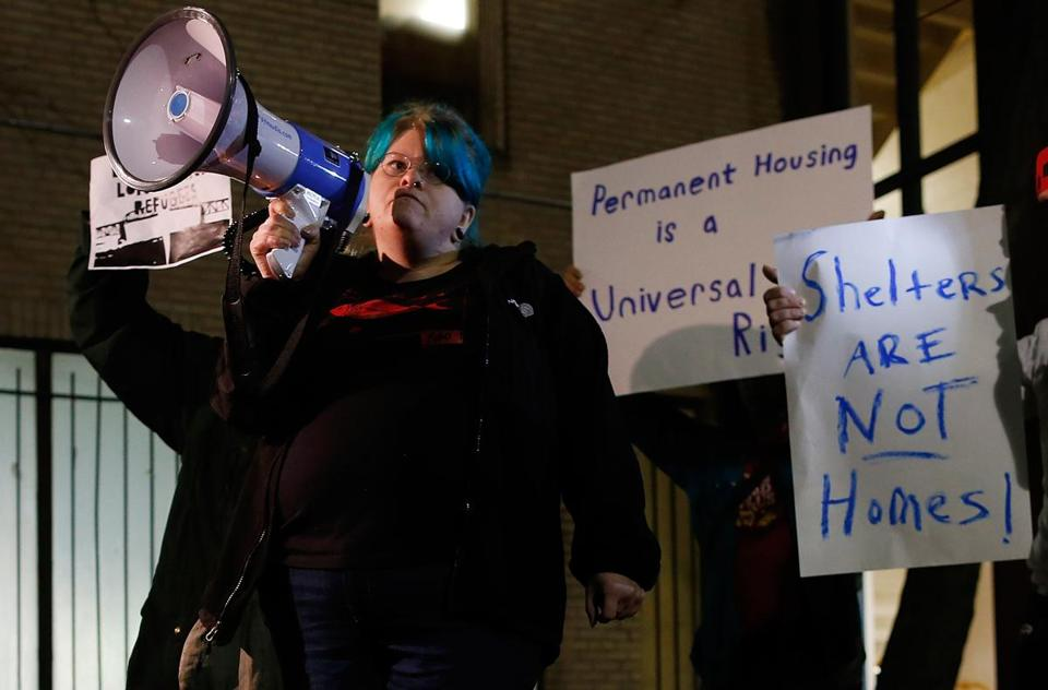 Cherie King, who was formerly homeless, spoke at a rally Wednesday at the Blackstone Community Center in Boston.