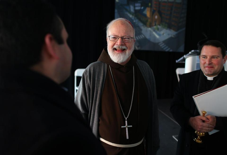 Cardinal Sean Patrick O'Malley was all smiles Friday during groundbreaking ceremonies for a new Our Lady of The Good Voyage Chapel to be built on Seaport Boulevard in the Seaport District.