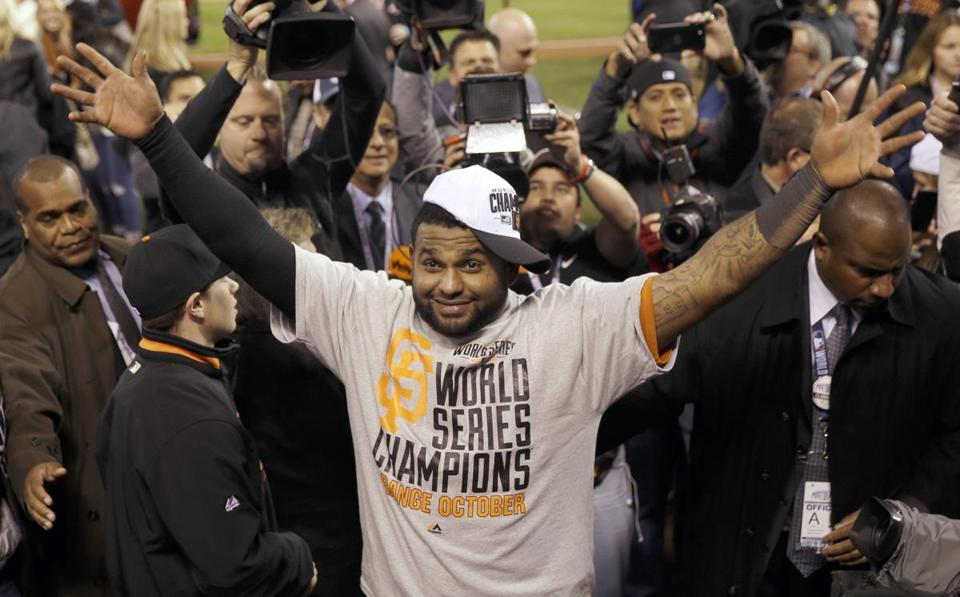 Pablo Sandoval celebrated a World Series championship in October. Will he be celebrating a contract with the Red Sox soon? (AP Photo/Matt Slocum)