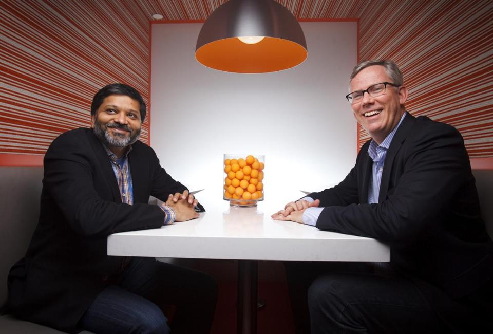 11/24/14 - Cambridge, MA - Dharmesh Shah and Brian Halligan are the founders of HubSpot, the Cambridge-based inbound marketing firm that had a monster IPO in October. For Boston Globe Magazine Bostonians of the Year issue. Topic: 122114BOTY. Dina Rudick/Globe Staff.