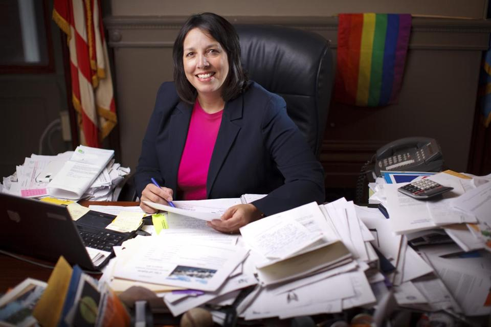 11/24/14 - Salem, MA - Salem Mayor Kim Driscoll, c q, is an outspoken defender of LGBT rights who took away the contract to manage Old Town Hall from Gordon College and got in a public fight with Glenn Beck. For Boston Globe Magazine Bostonians of the Year issue. Topic: 122114BOTY. Dina Rudick/Globe Staff.