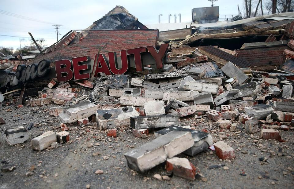Protesters damaged this building in Dellwood, Mo., near Ferguson, after Monday's grand jury decision was announced.
