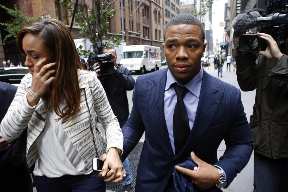 Ray Rice and his wife, Janay, attended a two-day appeal hearing of his indefinite suspension from the NFL in New York.