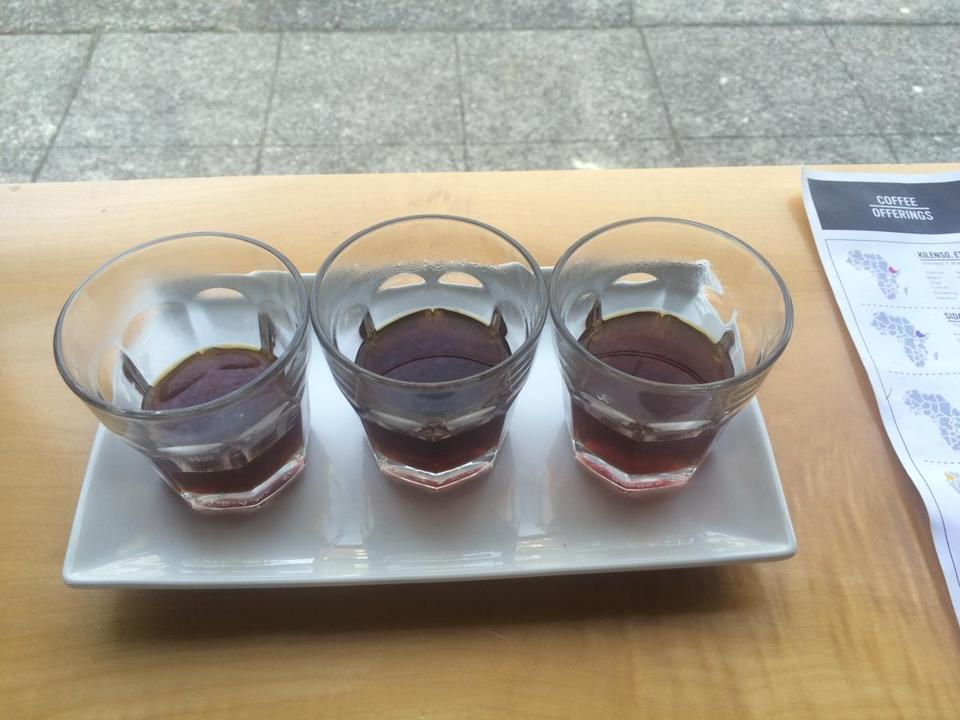 Slate Coffee Roasters serves a four-course  flight, which on this day included three different coffees whose beans were processed in different ways
