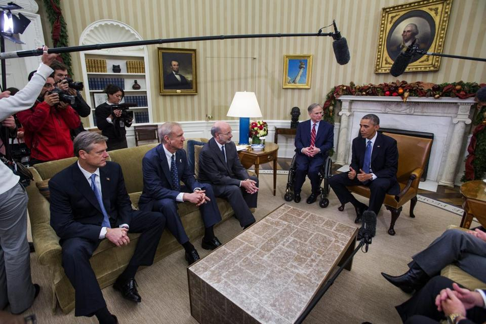President Barack Obama hosted newly elected governors, including Charlie Baker (far left), at the White House Friday.