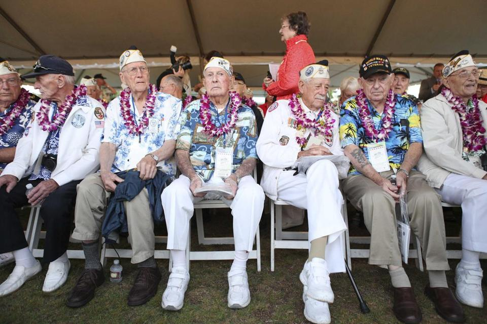 Pearl Harbor survivors at the ceremony honoring the 73rd anniversary of the attack on Pearl Harbor.