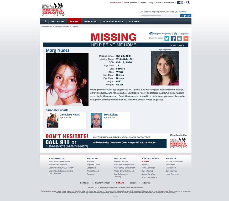 A screenshot of Mary Nunes' missing poster on missingkids.com.