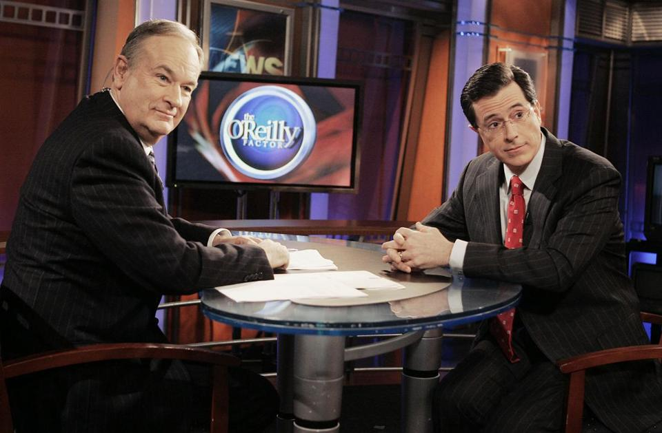 "Stephen Colbert with Bill O'Reilly, or ""Papa Bear,'' as Colbert called him with mock reverence."