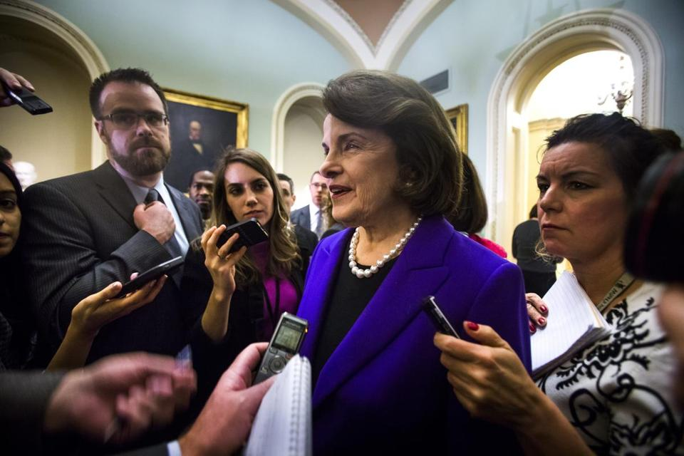 Senator Dianne Feinstein spoke to the media outside the Senate chamber after the release of a report on CIA torture policies.