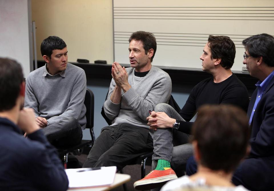 From left: Colin Lee, David Duchovny, Brad Davidson, and professor Jay Fialkov at Berklee College of Music Thursday.