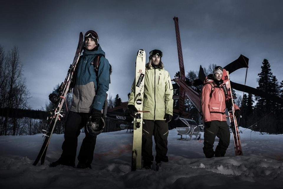 (l-r) Richard Permin, Cody Townsend and Markus Eder pose for a portrait during the filming of Days Of Our Youth, in the Tordrillo mountains in Alaska, USA on 15 April, 2014. // Blake Jorgenson/Red Bull Content Pool // P-20141015-00113 // Usage for editorial use only // Please go to www.redbullcontentpool.com for further information. //