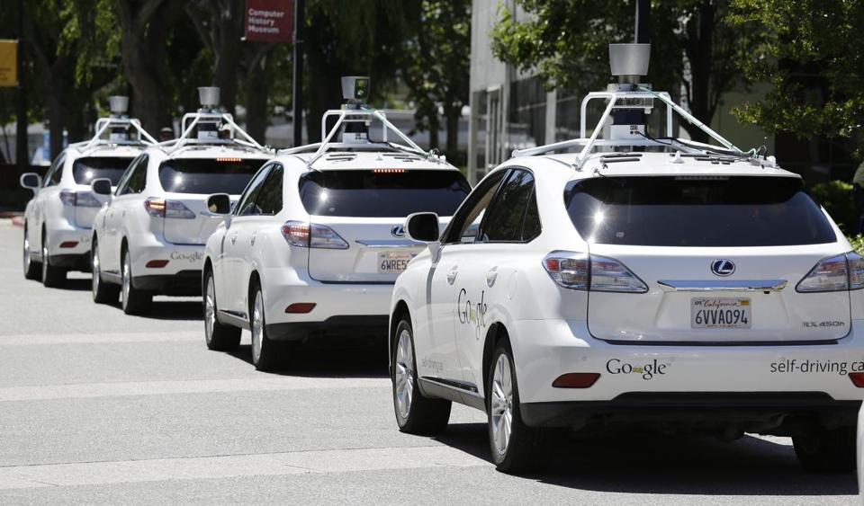 Google's self-driving cars were on display in Mountain View, Calif.  A study reviewed motion sickness and the new self-driving vehicles.
