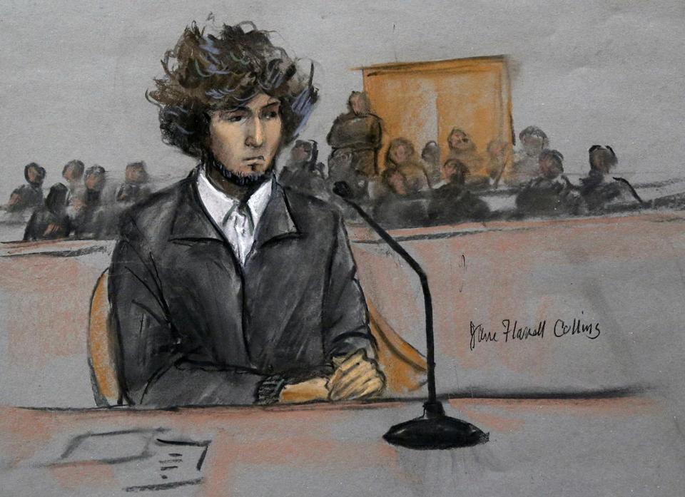 Marathon bombing suspect Dzhokhar Tsarnaev was depicted in this courtroom sketch.