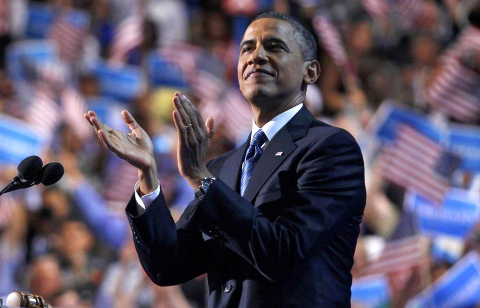 Obama addresses the Democratic National Convention in 2012.