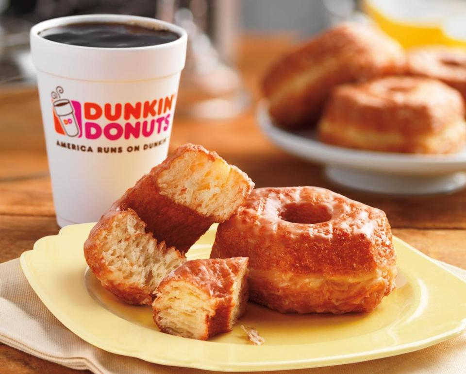 "This product image provided by Dunkin' Donuts shows the chain's new ""Croissant Donut,"" which will be launched nationally for a limited time starting Nov. 3, 2014. It comes more than a year after the Dominique Ansel Bakery in New York City introduced its now-trademarked Cronut, which became a viral sensation and spawned numerous knockoffs. (AP Photo/Dunkin Donuts) 011115BOTNFood"