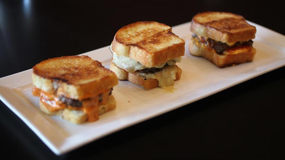 Medford, MA., 08/27/14, The mixed patty melt sliders: Original, Jalapena, Texan. The Snappy Pattys is profiled for Cheap Eats. Suzanne Kreiter/Globe staff (The Boston Globe.