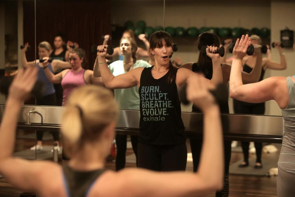 """Group exercise is very effective because it jump-starts fitness, pushes you out of your comfort zone, and gives you a level of accountability and camaraderie,"" says Caitlin Milbury, mind-body manager at Exhale Battery Wharf."
