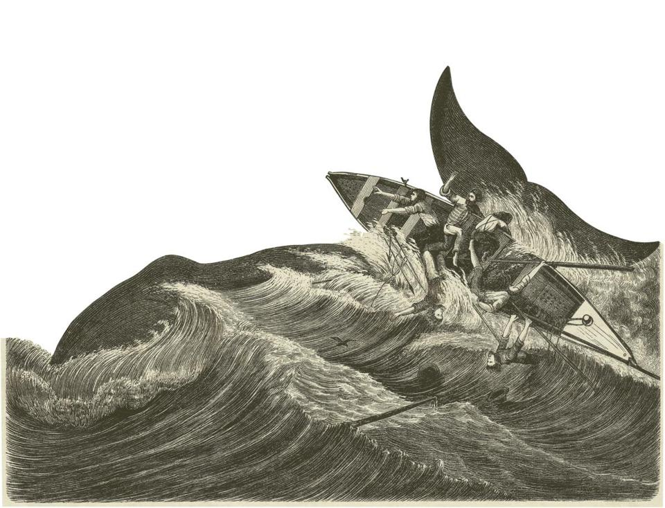 An 1872 woodcut of a whale trying to repulse a boat.