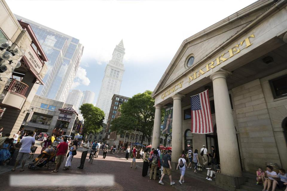 The Faneuil Hall Marketplace and nearby Quincy Market (pictured) combine for one of Boston's major tourist attractions.