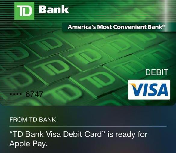 TD Bank launched Apple Pay, which allows consumers to make purchases using a mobile phone, in mid-December.